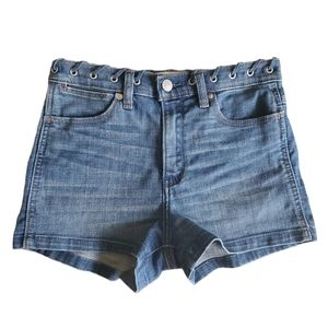 Abercrombie & Fitch High Rise Short Denim Grommets